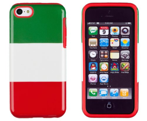 DandyCase 2in1 Hybrid High Impact Hard Italy National Flag + Red Silicone Case Cover For Apple iPhone 5C (not iPhone 5/5S) + DandyCase Screen Cleaner