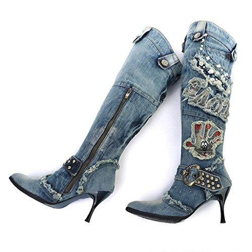 Knee Wedding Women High Winter Ladies Fashion Martin Boots Boots Denim Knight Large Size High Over Party Shoes Heels Thigh Denim Boots Kitzen Denim Blue Boots qwFxdUXEq