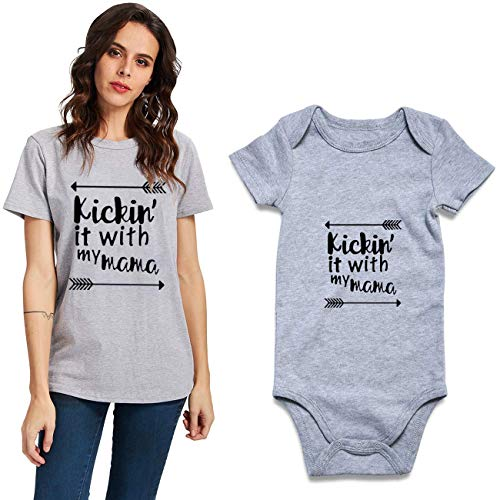 Uideazone Newborn Infant Kickin it with My Mama Bodysuit Short Sleeve Romper Outfit -