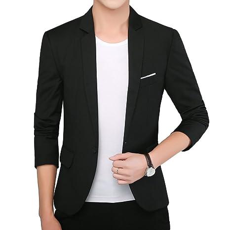 Uomo Casual One Button Elegante Vestito di Affari Cappotto Giacca Blazers  Top Outwear Slim Fit Nero e407021a690