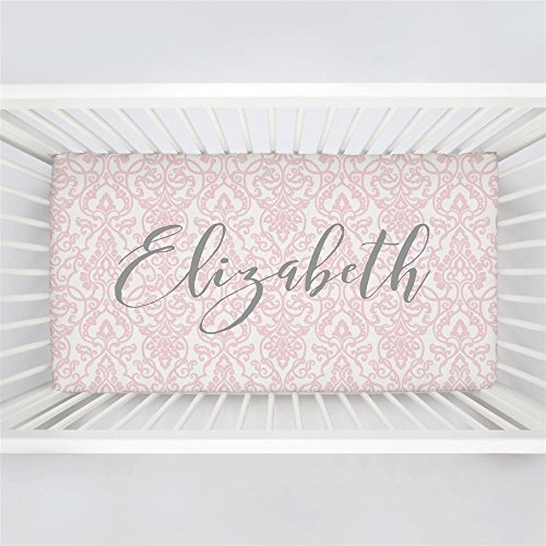 Carousel Designs Personalized Custom Pink Filigree Crib Sheet Elizabeth Idea - Organic 100% Cotton Fitted Crib Sheet - Made in The USA Custom Made Crib Bedding