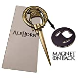 "AleHorn ""Hand of the King"" Style Bottle Opener – Easily Removes Bottle Caps and Letters – Perfect Gift for Game of Thrones Fans"