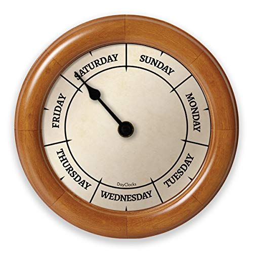 DayClocks Classic Day Clock - Day of The Week Clock - Fun Retirement Gift - Pine Wall Clock