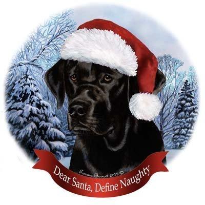 Dog in Santa Hat Porcelain Hanging Howliday Ornament (Black (Black Lab Ornament)