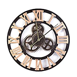 Retro Industrial Style Gear Wall Quartz Clock 16 Inch Home Bar Cafe Decoration