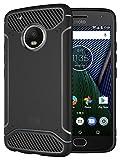 Moto G5 Plus Case, TUDIA Carbon Fiber Design Lightweight [TAMM] TPU Bumper Shock Absorption Case for Motorola Moto G5 Plus (Black)
