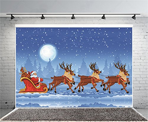 AOFOTO 7x5ft Christmas Photography Background Snowflake Backdrop Reindeer Pull Santa's Sleigh Forest Fir Trees Full Moon Kid Girl Boy Portrait Photoshoot Studio Props Video Drape Wallpaper