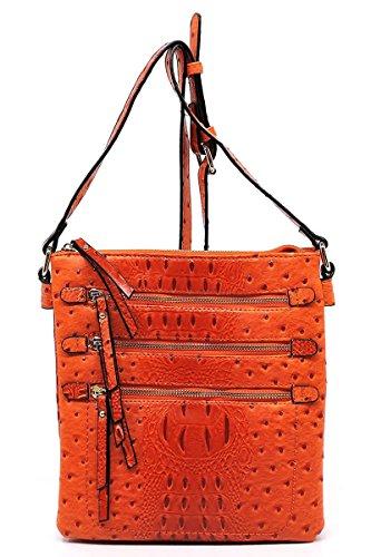 Elphis Ostrich Croc Multi Zipper Pocket Double Compartments Crossbody Bag Messenger Bag Satchel Day Purse (Orange)
