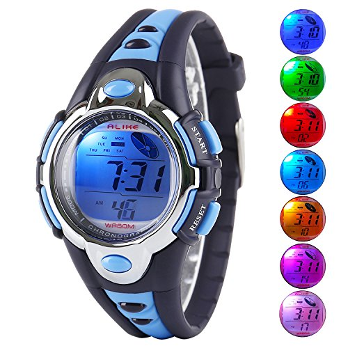 Price comparison product image Kid Watch Multi Function Digital LED Sport 50M Waterproof Electronic Digital Watches for Boy Girl Children Gift Blue