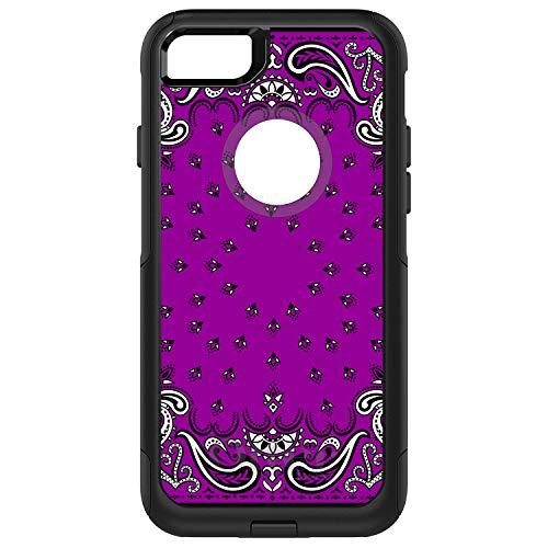 DistinctInk Case for iPhone 7 Plus / 8 Plus - OtterBox Commuter Black Custom Case - Bandana Print - Purple, Black, White]()