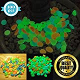HIMI Store Premium Glow in The Dark Pebbles, 100 Colorful Glowing Stones - Perfect Glow Rocks for Garden, Potted Plant, Flower Bed, Fish Tank Aquarium, Decorative Vases