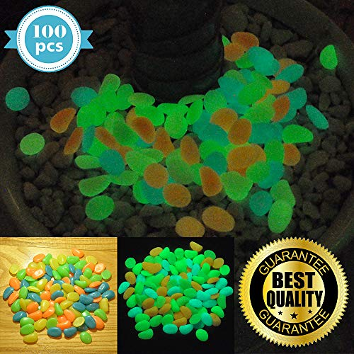 HIMI Store Premium Glow in The Dark Pebbles, 100 Colorful Glowing Stones - Perfect Glow Rocks for Garden, Potted Plant, Flower Bed, Fish Tank Aquarium, Decorative Vases by HIMI Store