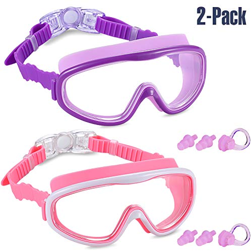 (Yizerel 2 Pack Kids Swim Goggles, Swimming Glasses for Children and Early Teens from 3 to 15 Years Old, Wide Vision, Anti-Fog, Waterproof, UV Protection(Purple & Pink, Pack of 2) )
