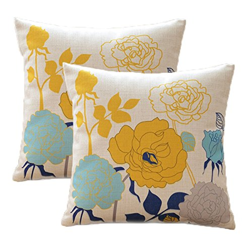 sykting Sofa Pillow Cases Square Pillow Covers 18 x 18 Pack of 2 Spring Flowers Series Cotton Linen Decorative Cushion Covers