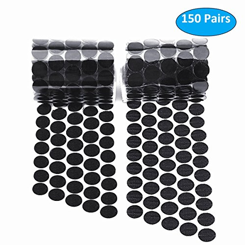 Self Adhesive Dots, Hompie Sticky Back Coins Nylon Coins Hook & Loop Strips,300pcs (150 Pairs) 3/4
