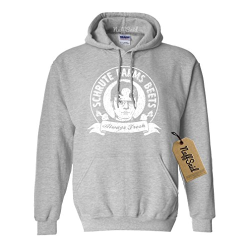 NuffSaid Schrute Farms Beets Always Fresh Hooded Sweatshirt Sweater Pullover - Unisex Hoodie (Large, Sports Grey)