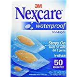 Nexcare Waterproof Clear Bandage Assorted Sizes, 50-Count Packages (Pack of 4)