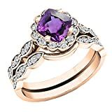 Dazzlingrock Collection 14K 5.5 MM Cushion Amethyst & Round Diamond Ladies Halo Engagement Ring Set, Rose Gold, Size 8