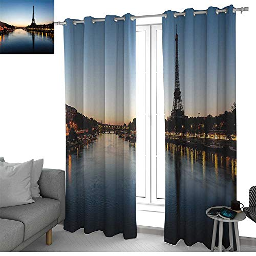 NUOMANAN Thermal Insulated Blackout Curtain Night,Eiffel Tower at Twilight Travel Destination Tourist Attraction Famous Monument,Light Blue Yellow,Blackout Draperies for Bedroom Living Room 54
