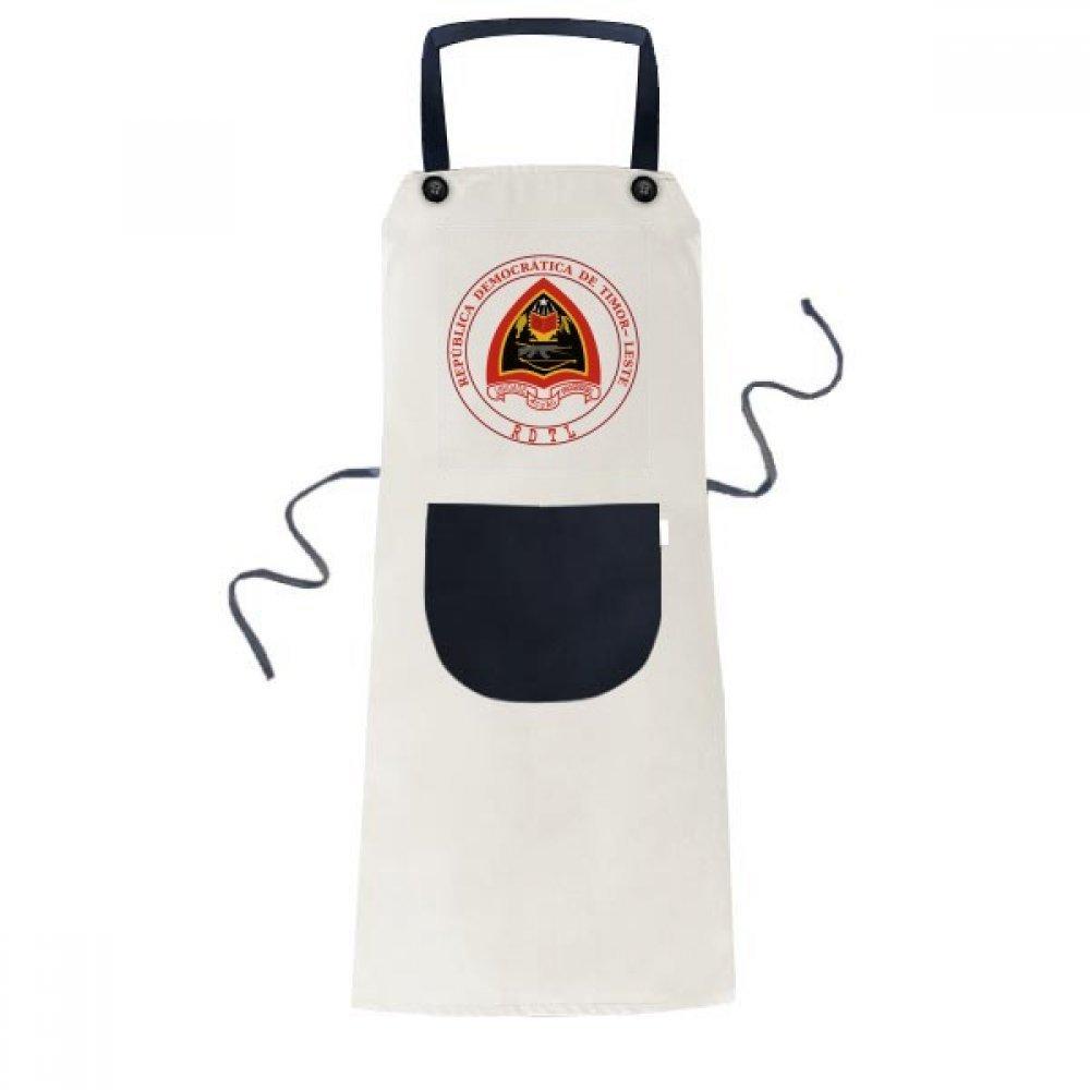 DIYthinker Dili East Timor ナショナル エンブレム エプロン 料理 ビブ ブラック キッチン ポケット レディース メンズ   B0775NS8DS