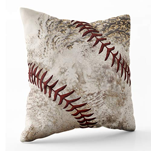 Shorping Zippered Pillow Covers Pillowcases 18X18 Inch Round Dirty Baseball for Guys Decorative Throw Pillow Cover,Pillow Cases Cushion Cover for Home Sofa Bedding