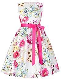 GRACE KARIN Girls Sleeveless Vintage Flower Dresses with Ribbon