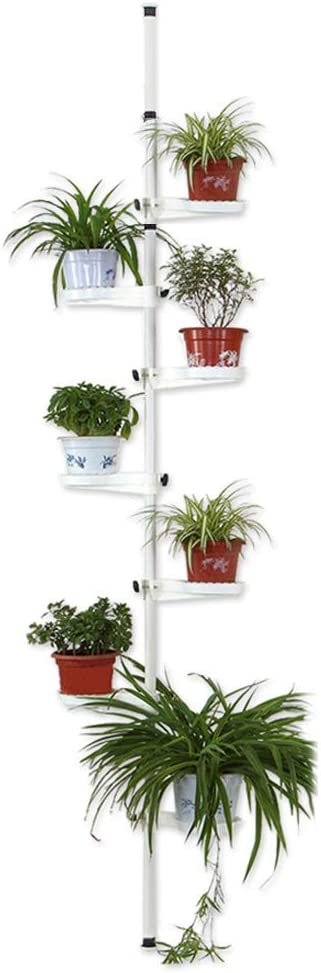 Indoor Plant Storage, FOME 7-Layer Metal Spring Single Pole Stand Corner Flower Display Rack Plant Storage Shelf Hanging Plant Stand Planter Rack Indoor