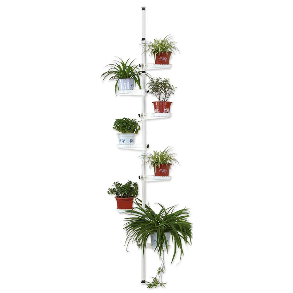 Indoor Plant Storage, FOME 7-Layer Metal Spring Single Pole Stand Corner Flower Display Rack Plant Storage Shelf Hanging Plant Stand Planter Rack Indoor by FOME HOME