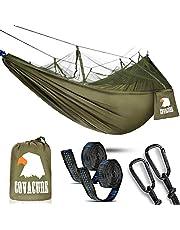 COVACURE Camping Hamac Set avec Moustiquaire, 2 Sangles D'arbres Carabiners Cordes Double Portable Outdoor Léger Nylon Hamac pour Camping Randonnée Pédestre Jardin Voyage