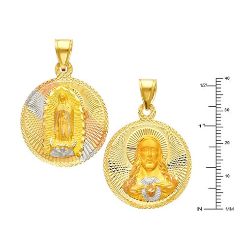 Wellingsale 14K Tri 3 Color Gold Polished Diamond Cut Religious Double Sided Charm Pendant