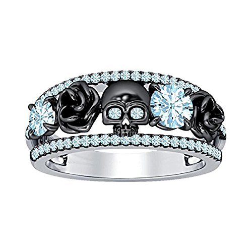 DreamJewels Belle Princess Black Rose Design Band Skull Ring 1.00 Ct Created Round Cut Created Aquamarine 14K Two-Tone Gold Finish 925 Sterling Silver