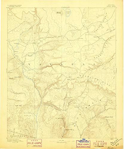 YellowMaps Verde AZ topo map, 1:250000 Scale, 1 X 1 Degree, Historical, 1892, Updated 1897, 20 x 16.6 in - Tyvek