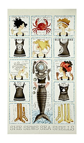Quilting Treasures She Sews Sea Shells Small Patch 23.5'' Panel, Cream by Quilting Treasures