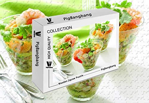 PigBangbang,Famous Paintings Basswood - Shrimp Mandarin Avocado Onions Greens Cooking Recipe - 1500 Piece Jigsaw Puzzle (34.4 X 22.6'')
