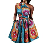Zimaes-Women Africa Halter Print Sexy Vogue Club Party A Line Dress M