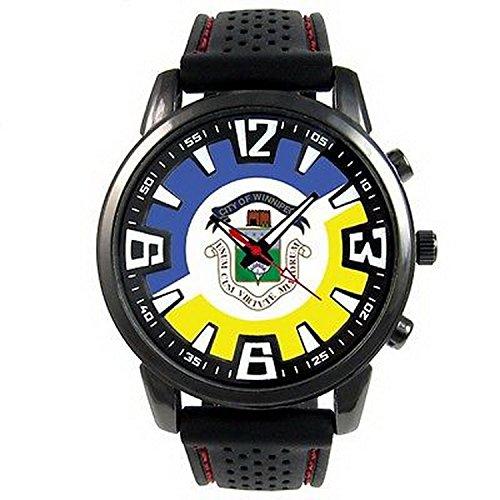 JWS0097 Canada Winnipeg Flag Mens Style Black Silicone Band Quartz Wrist - Mens Winnipeg Watches
