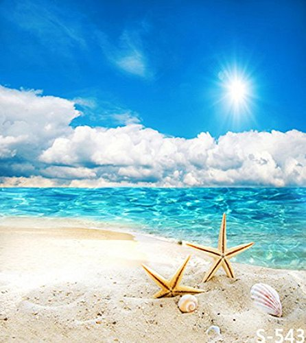Lfeey-3x5ft-Vinyl-Photography-Background-backdropBlue-Ocean-Clear-Sky-Sand-Beach-Starfish-1x15m-Customizable-Photo-Studio-Props