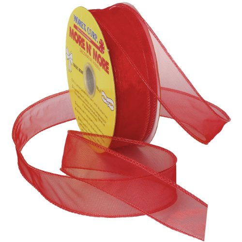 Florist Ribbon - Morex Ribbon Wired 1-Inch Chiffon Ribbon with 25-Yard Spool, Red