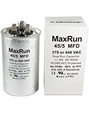 MAXRUN 45+5 MFD uf 370 or 440 Volt VAC Round Motor Dual Run Capacitor for AC Air Conditioner Condenser - 45/5 uf MFD 440V Straight Cool or Heat Pump - Will Run AC Motor and Fan - 1 Year Warranty