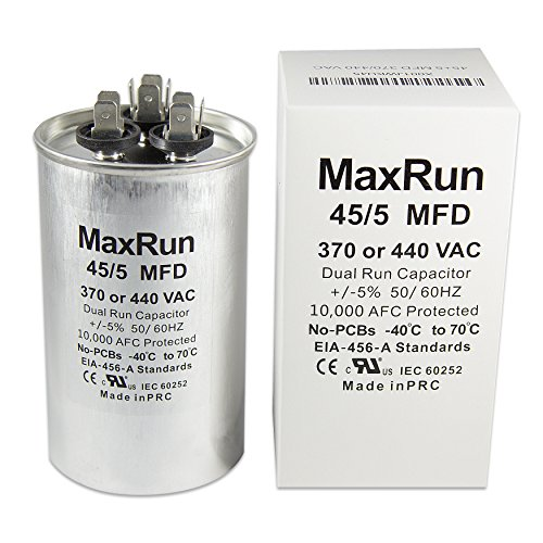 MAXRUN 45+5 MFD uf 370 or 440 Volt VAC Round Motor Dual Run Capacitor for AC Air Conditioner Condenser - 45/5 uf MFD 440V Straight Cool or Heat Pump - Will Run AC Motor and Fan - 1 Year Warranty Air Conditioning Run Capacitor