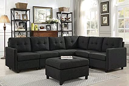 Amazon.com: Modern Sectional Sofa with Ottoman Left or Right ...