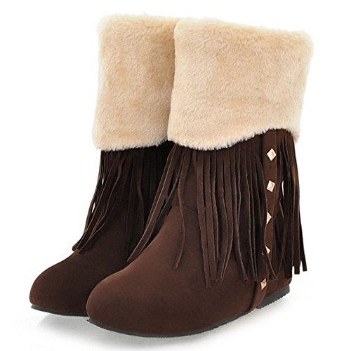 COOLCEPT Damen Bequeme Pull On Stiefel Fransen with Low Height Increasing Brown