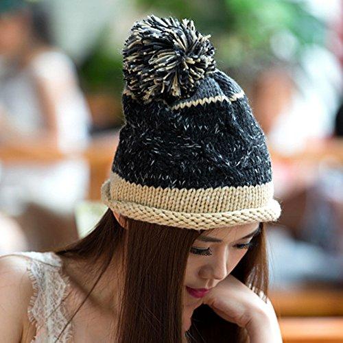 la del de Bola Versión de 1 Lana Sombrero Largo Knit Rizado Tejido 4 Coreana Maozi Natural q7tgHnwt