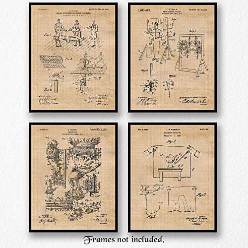 Original Magic Tricks Player Patent Art Poster Prints- Set of 4 (Four 8x10) Unframed Pictures- Great Wall Art DecorGifts Under $20 for Home, Office, Garage, Man Cave, Teacher, Magician, ()