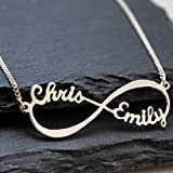 Sterling Silver Infinity Necklace 18K Gold Plated Custom Infinity Necklace with Names Personalized gift for lover