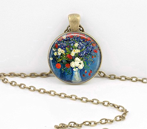 a Vase Painting Floral Art Pendant Necklace Jewelry or Key Ring ()