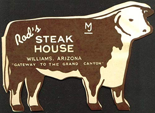Rod's Steak House Williams AZ silhouette menu 1950s
