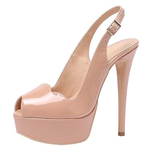 48e79c2668 AOOAR Women's Slingback High Heels Party Pumps with Platform