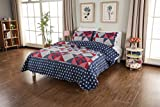 CozyLand Blue Vintage Designers Pre-Washed 3 Piece Queen Size Patchwork Quilt Set Lightweight Good Sleeping Experience for All Seasons King