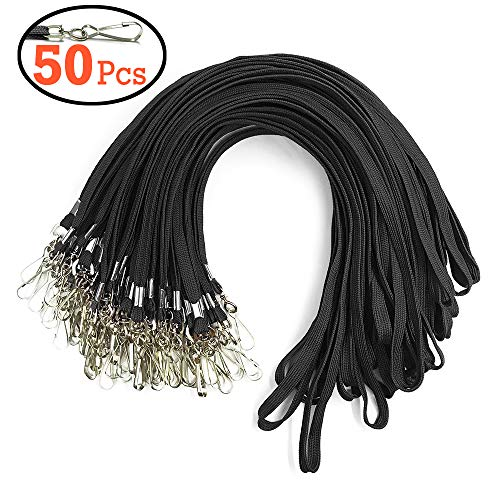 Lanyard Woven Flat - Black Lanyard Bulk Clips Swivel Hooks 50 Pack 17.5-inch Cotton Neck Flat Woven Black Lanyards with Clip for Id Badges